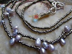 Confection - Extra Long Necklace of Pale Blue Freshwater Pearls and Gunmetal Glass Seed Beads by Chilirose on Etsy