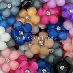 20 MIXED COLOR RHINESTONE FLOWERS WITH DIAMOND CENTRE