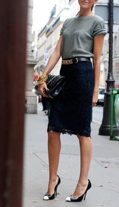 lace pencil skirt + tshirt + heels + rocker chic metal accessories that skirt into cute