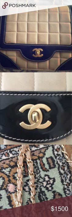 Vintage Authentic Chanel handbag Exterior scuffs or marks Interior lining wear This item has visible signs of wear. Bag is Darker than pic due to wear. Chanel bi-color classic flap bag in good/ok used condition. Single flap bag with double chain. Gorgeous vintage bag from year 2001  Main color : Light beige and black Material : Soft calf leather and black patent Shoulder strap drops about : Single - 45cm (17.71 inches), Double 24cm (9.44 inches) long Comes with : Authenticity card, Chanel…