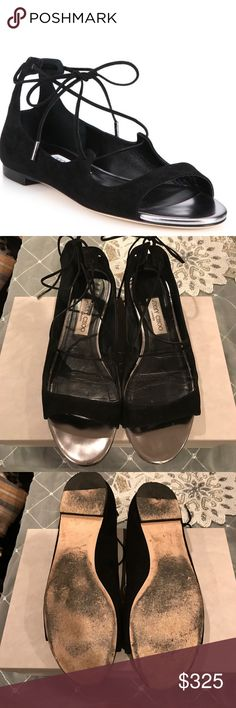 465e88936a9c Shop Women s Jimmy Choo Black Silver size 9 Sandals at a discounted price  at Poshmark. Description  Authentic Jimmy Choo Vernie Sandals in  Black Steel.