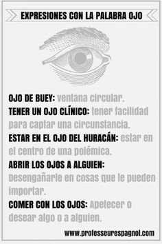 "Expresiones con la palabra ""ojo""  #Courconnect #Languages #Courses"