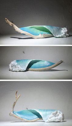 Johny Surf Art crafts driftwood sculptures inspired by ocean waves.