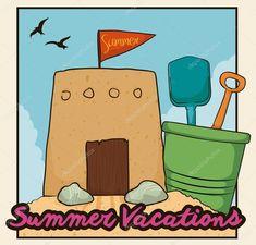 Cute Sand Castle in Beach in a Summer Day, Vector Illustration Summer Days, Castle, Bullet Journal, Stock Photos, Illustration, Art, Art Background, Kunst, Castles