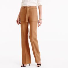 Collection belted pant in Italian wool J crew tan
