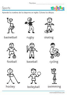 Los deportes en inglés. Ficha infantil