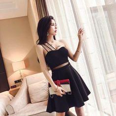 Korean Fashion Dress, Korean Dress, Ulzzang Fashion, Asian Fashion, Cute Skirt Outfits, Crop Top Outfits, Sexy Outfits, Girl Outfits, Girls Fashion Clothes