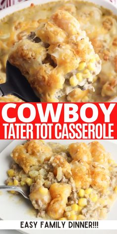 Cheap Casserole Recipes, Easy Casserole Dishes, Hamburger Tater Tot Casserole, Tator Tot Casserole Recipe, Cowboy Casserole, Cheeseburger Casserole, Corn Casserole, Squash Casserole, Velveeta Recipes