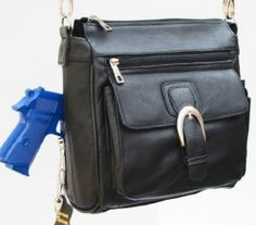 Concealed Carry Purse : Leather Locking CCW Gun Bag : Slash Resistant handle : Crossbody Option : RIGHT AND LEFT-HAND DRAW