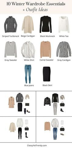 10 Winter Wardrobe Essentials + Outfit Ideas - When it's Winter, you not only want to stay warm by wearing layers, but you want to look great too! The key to wearing layers is by putting on your basic essentials first. Then, all you have to do is add a sweater, cardigan, blazer or coat, then shoes and accessories to complete your outfit. … Winter Wardrobe Essentials, Travel Essentials For Women, Wardrobe Sets, Capsule Wardrobe, Closet Essentials, Warm Outfits, Casual Outfits, Winter Outfits, Silvester Make Up