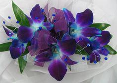 Blue/Purple Dendrobian Orchid Corsage w/ gems