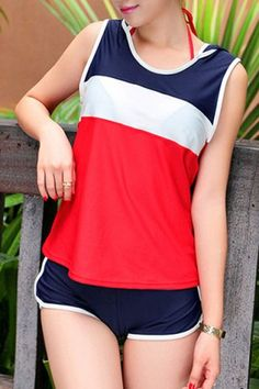 Sexy Halter Color Block Four-Piece Swimsuit For Women