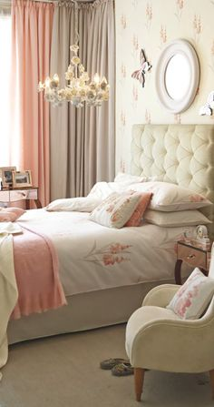 Pretty Peaches and Cream bedroom - pinned and loved by www.karensavagedesign.com