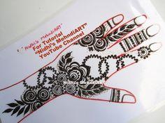 Popular Gulf Style Floral Henna Mehndi Design Tutorial Step by Step Mehndi Designs Book, Wedding Mehndi Designs, Mehandi Designs, Mehndi Art, Henna Mehndi, Mehendi, Simple Henna, Easy Henna, Henna Style
