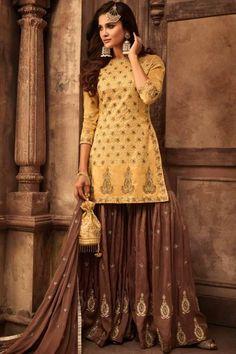 43113329a73 Dazzling Art Silk Mustard Sharara Suit - LSTV02317