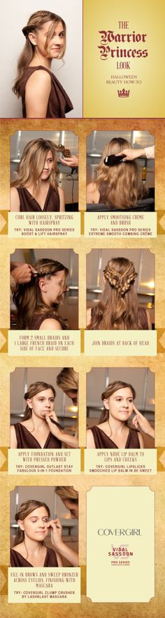 Dressing up for Halloween? Want to get the princess warrior look? Get it here, courtesy of CoverGirl! Medieval Hairstyles, Diy Hairstyles, Glamorous Hairstyles, Fantasy Hairstyles, Hairstyle Hacks, Halloween Hair, Halloween Looks, Halloween Stuff, Halloween Costumes