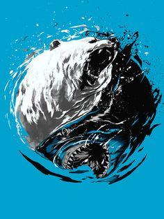 Ying Yang Shark tshirt Bear tee Fin Fang Mens Tee by sharpshirter