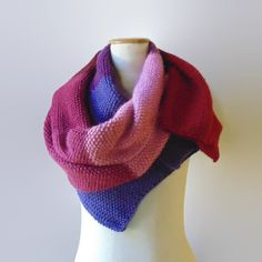 Ombré Wrap Scarf Knitted in Soft Wool Blend  From Red to by branda