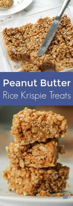 Healthy Low-Sugar Peanut Butter Rice Krispie Treats -easy to make and a kid favorite