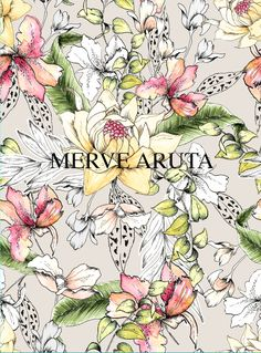 Hand drawn & painted watercolor floral design. Yo can find it on patternbank.