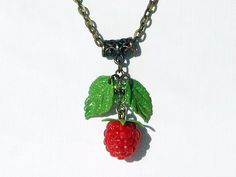 Cute Charm Necklace Raspberry handmade polymer clay / Cute Jewelry red  berries…