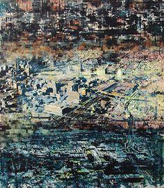 Robert Boynes,    'Urban Simulation - Haze' 1995,    acrylic on canvas,  191.5 x 167.5cm