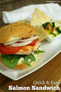 Keep it simple and let the salmon flavors shine in this tasty Salmon Sandwich | 5DollarDinners.com