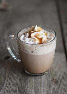 Salted Caramel Mocha at Home! - Pretty Hungry  Ingredients: 1 shot espresso (or substitute ½ C. strong black coffee) 1 cup milk (I recommend whole milk) 1-2 Tbsp. caramel ice cream topping + extra 1 Tbsp. cocoa powder 1-2 packets of desired sweetener (ie. stevia, Splenda, or sugar) pinch of sea salt whipped cream 1 tsp. raw sugar 1 tsp. sea salt