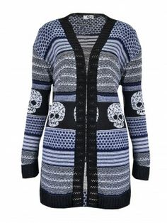 Knitted Skull Print Cardigan