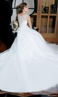 rico a mona bridal resort 2015 sleeveless romantic ball gown wedding dress illusion back view train