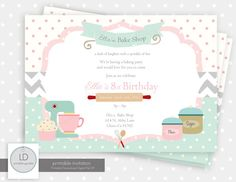 Baking Party Invitation by LemonAvenueDesigns on Etsy, $12.00