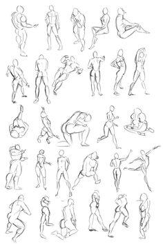 Dibujo gestual de cuerpos humanos Pose study drawing