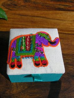Indian Ari embroidered elephant trinket box in turquoise. http://www.maroque.co.uk/showitem.aspx?id=ENT05424&p=06506&n=all