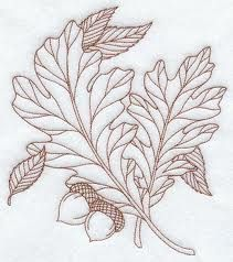 Machine Embroidery Designs at Embroidery Library! - A Falling Colors (Redwork) Design Pack - Lg Embroidery Leaf, Machine Embroidery Patterns, Cross Stitch Embroidery, Oak Leaf Tattoos, White Oak Leaf, Blatt Tattoos, Pyrography Patterns, Wood Burning Patterns, Wood Burning Projects