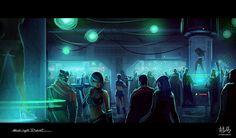 Cyberpunk, Blue Light District by RyomaNinja on deviantART