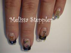 Gel nails, black, crystal sparkle with Disney decals