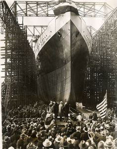 Launch of Dollar Line PRESIDENT COOLIDGE at Newport News, February 31, 1931 via Todd Neitring