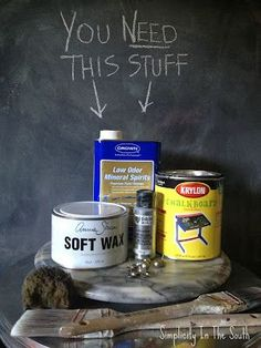 Tutorial for a Restoration Hardware inspired faux aged steel paint finish by Simplicity In The South.