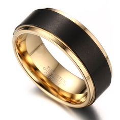 8mm Mens Black Tungsten Wedding Band Ring 18k Gold Plated With Matte Domed Brushed and Polished Finish Edges (10)