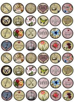 Vintage Motifs V3 Bottlecap Images /  Love, Fleur de Lis, Butterfly, Heart, Key / Printable Digital Collage 1 Inch Circles for Bottle Cap. $1,99, via Etsy.