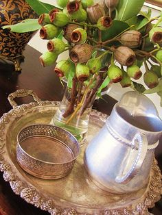 Vignette made with Gum-Nuts from the Eucalyptus Tree & Vintage Silver. Baby Shower Table Decorations, Baby Shower Themes, Fresh Flowers, Dried Flowers, Christmas Table Settings, Christmas Tables, August Flowers, Vases, Beautiful Christmas Decorations