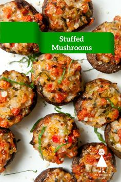 Stuffed Baby Bella Mushrooms Recipe |  You can serve these as an appetizer, side dish, or simply a nutritious afternoon snack!