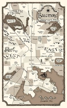 Old-Timey map of Baltimore