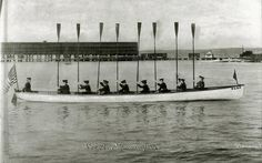 Photograph of the ZLAC Rowing Club crew with oars 'tossed' in salute, circa 1904. In 1892 a group of women formed a rowing club in San Diego. Sisters Lena, Agnes and Caroline Polhamus and their friend Zulette Lamb used the first letters of their names as an acronym. The club they founded is now the oldest women's rowing club in the USA. Picture: The River and Rowing Museum, Henley. rrm.co.uk