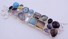 Free Shipping 74 gram stunning BIWA-AMAZONITE-PREHNITE .925 sterling silver  bracelet free shipping by OCEANJEWELLERS on Etsy