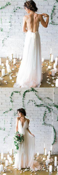 2016 wedding dress, white wedding dress, backless wedding dress, long wedding dress, v-neck wedding dress