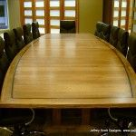 Conference Table Boat Shaped Hickory Wood 32