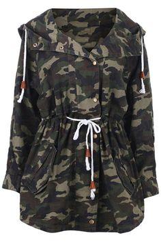 Camouflage Drawstring Hooded Coat