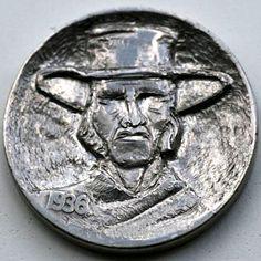 STEINAR FOSBACK - BLIND COWBOY - 1936 BUFFALO NICKEL Hobo Nickel, Blind, Buffalo, Carving, Personalized Items, Wood Carvings, Sculptures, Printmaking, Water Buffalo