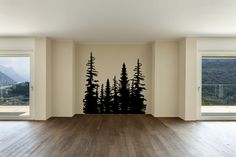 Pine Evergreen Tree Forest Vinyl Wall Decal Sticker Made from 10 year high quality vinyl which leaves no residue upon removal. Measures 96 x 96 inches. Some decals may come in multiple pieces due to t More